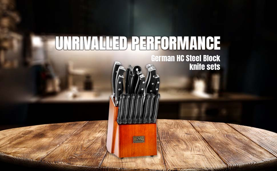 9 pieces German 1.4116 HC Stainless Steel Knife block sets