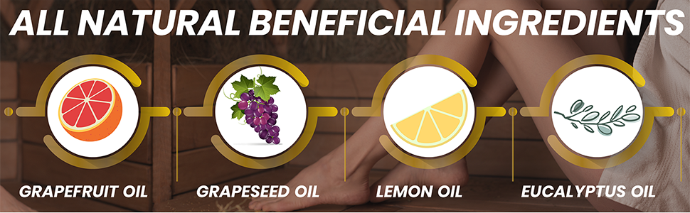 grapefruit oil, grapeseed oil, lemon oil, eucalyptus oil