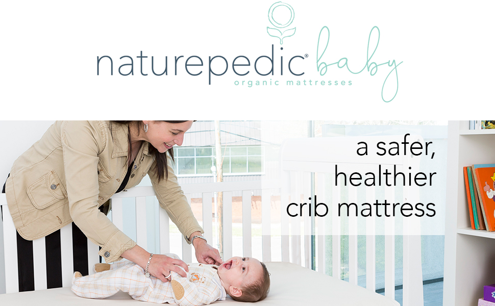 Naturepedic Logo with Mom and Baby - A Safer Healthier Crib Mattress