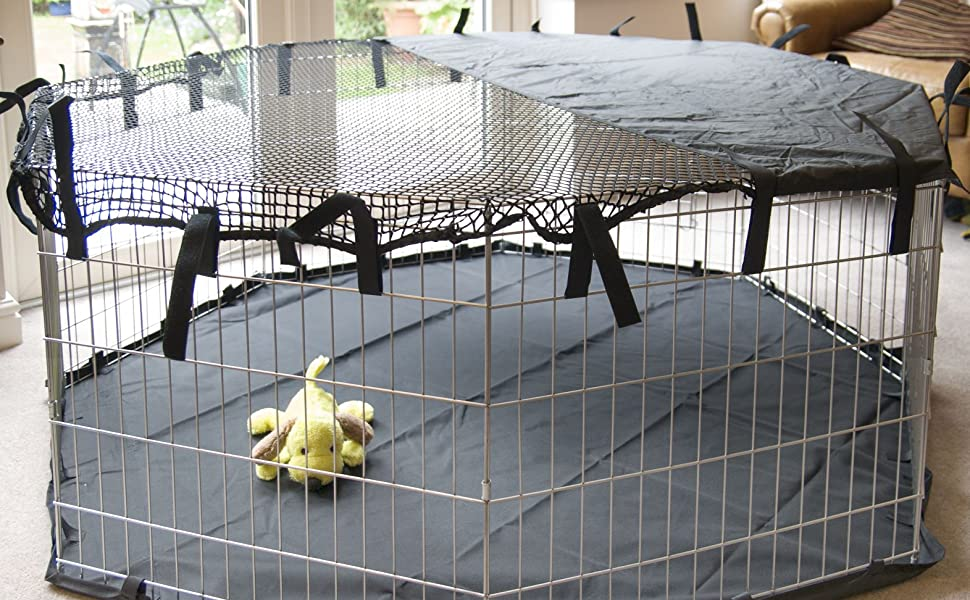 Speedwellstar Cover for 8 Side Sun Shade for Light Pet Pen Play Dog Cage Crate Run Fitted Elastic