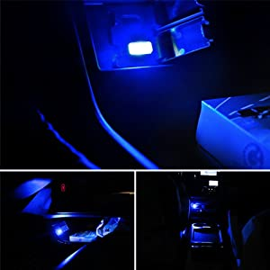 Blue USB Plug-In Miniature LED Car Interior Ambient Lighting Kit