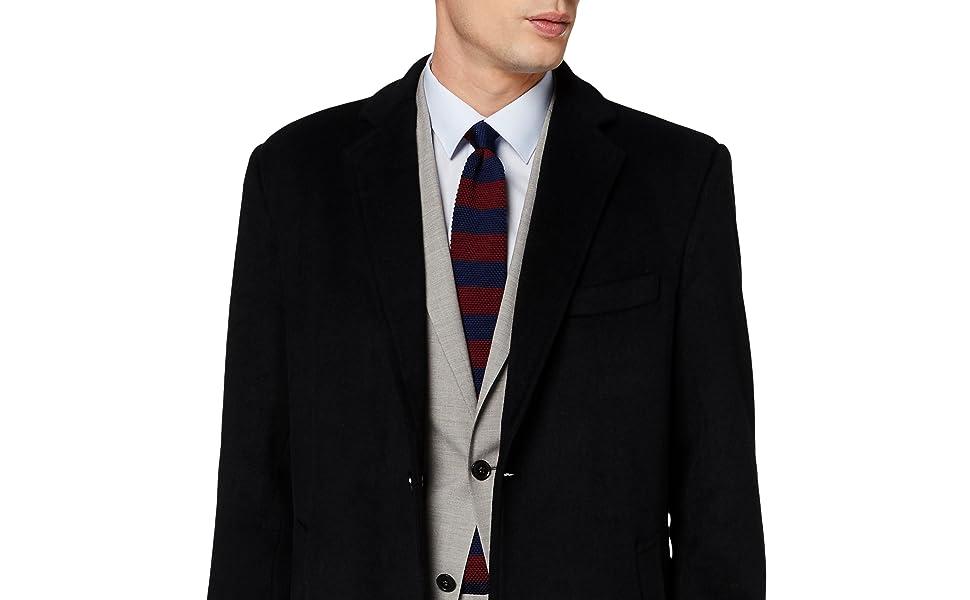 Mens Black Overcoat Wool & Cashmere Warm Winter Mod Cromby Long Coat Black