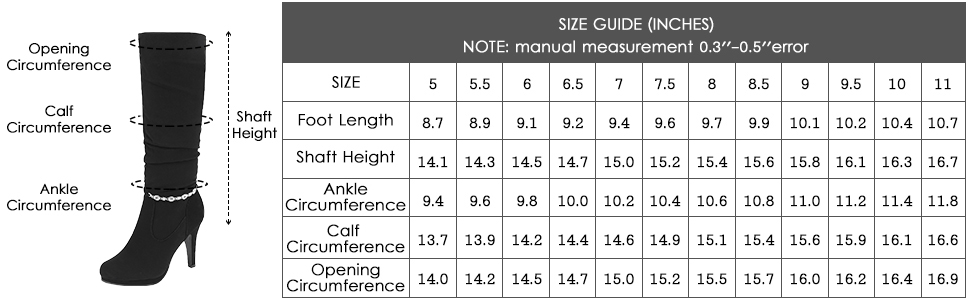 Size guide(INCHES)