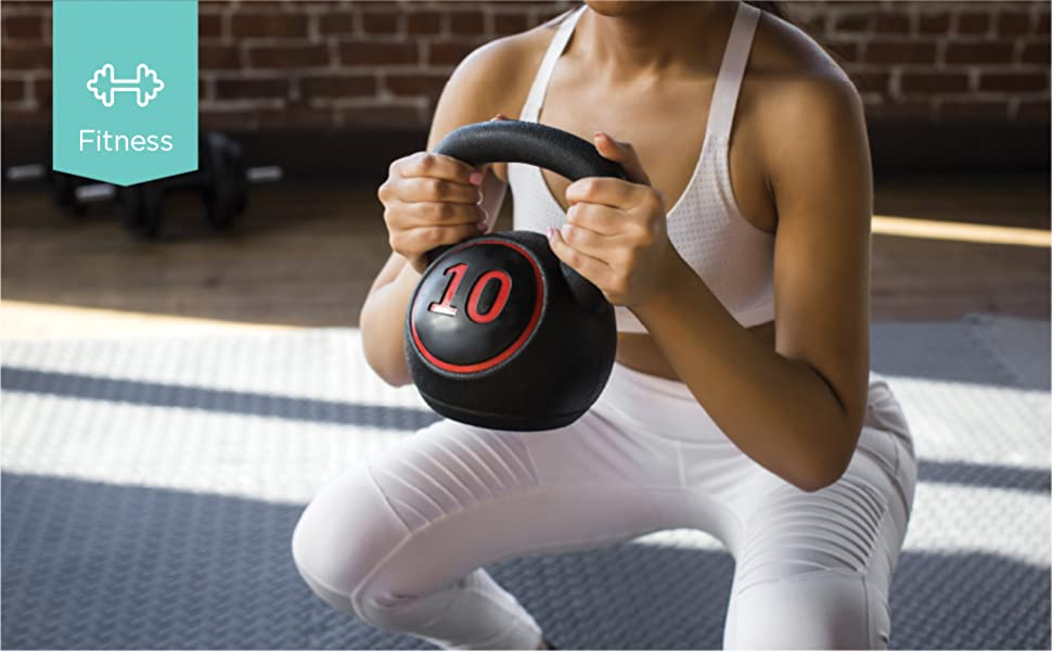 Woman working with kettle bell