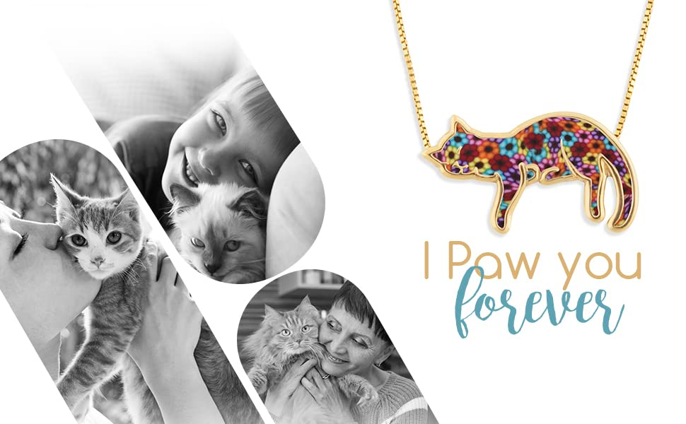Beautiful Gold Plated Silver Cat Necklace for Women Handmade with Colorful Polymer Clay Designs