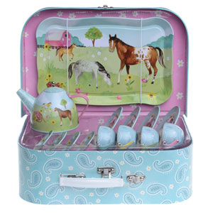 horse tea set, horse gift, pretend play