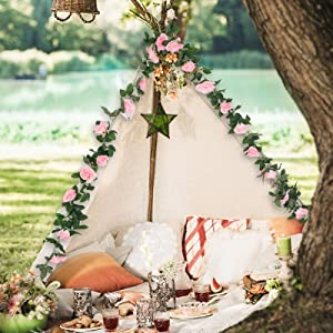 decorate your camp with the rose garland