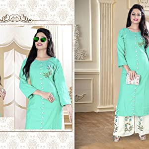 Flex Rayon Kurta With Plazzo Set