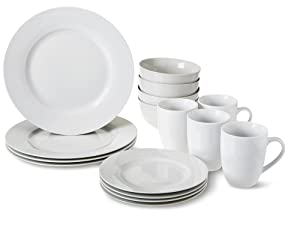 Amazon Basics 16-piece, 4-person place setting with plates, bowls and coffee mugs