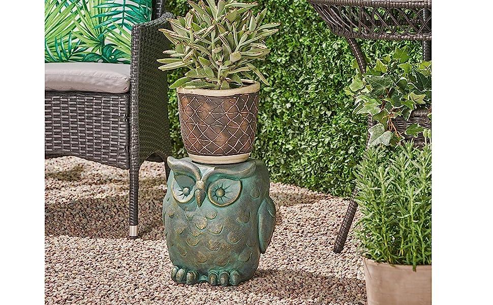 Great Deal Furniture 307406 Agnes Owl Garden Stool Renewed Lightweight Concrete Gold Patina Finish