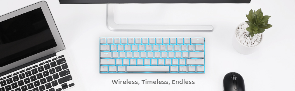 RK ROYAL KLUDGE RK61 61 Keys Wired/Wireless Multi-Device Yellow LED Backlit Gaming/Office Keyboard