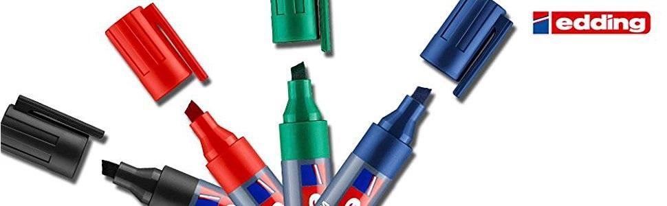 edding 360-4-S - Estuche 4 marcadores para pizarras blancas con punta redonda, trazo 1.5-3 mm, colores surtidos