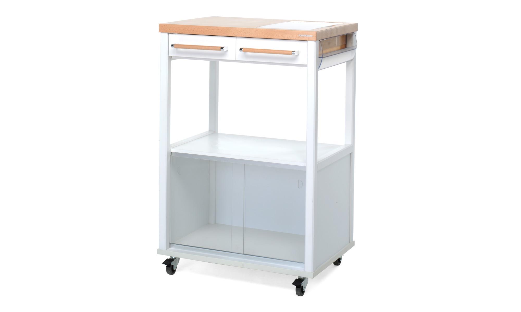 Foppapedretti benchef carrello da cucina in legno bianco for Portarotolo ikea