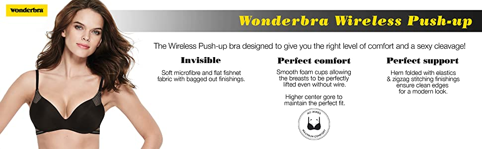 424238f9a1c Wonderbra Women's Minimal Chic Wireless Push Up Everyday Bra ...
