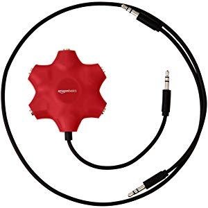 Amazonベーシック 5ウェイ マルチヘッドフォン オーディオスプリッターコネクター レッド