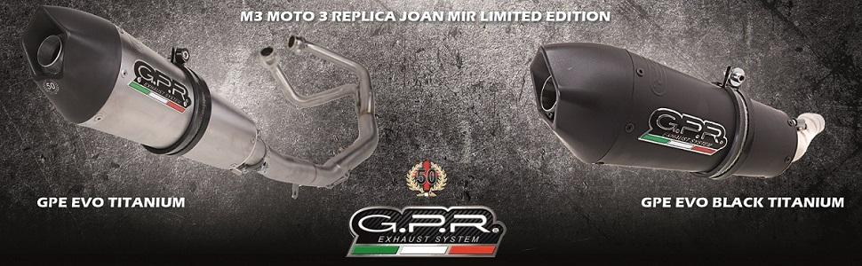 M3 Black Titanium Moto 3 Replica Street Triple 675 2013//16 Scarico GPR Italia Exhaust System T.83.M3.BT Terminale Omologato con Raccordo