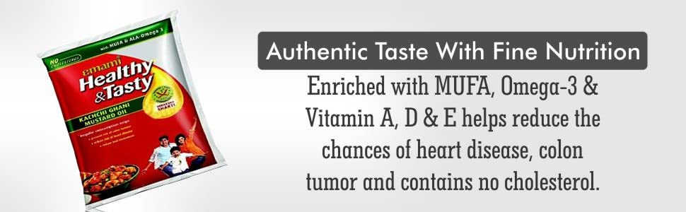 Emami Healthy and Tasty Kachi Ghani Mustard Oil Pouch
