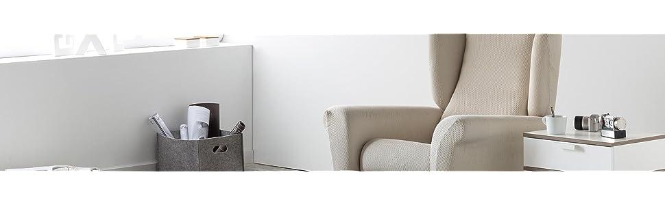 Eiffel Textile Nimes Funda para Sofá, Algodón, Negro, Chaise Longue Brazo Largo Derecha, 280 x 195 x 2 cm