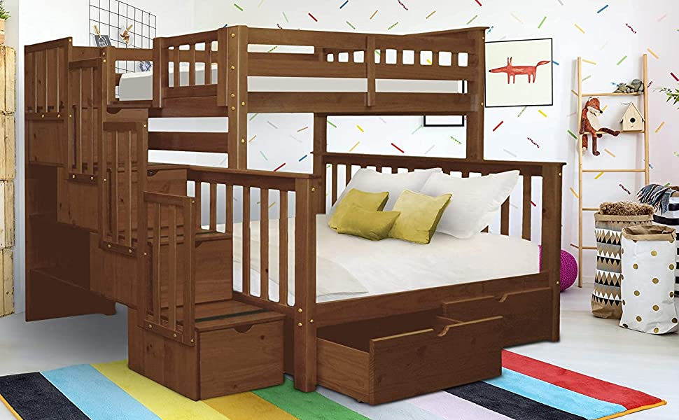 Amazon Com Bedz King Stairway Bunk Beds Twin Over Full With 4 Drawers In The Steps And 2 Under Bed Drawers Espresso Furniture Decor