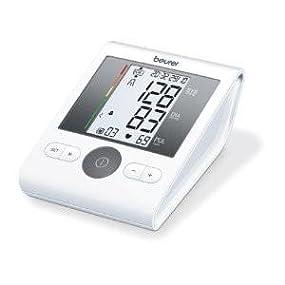 Beurer BM28 - Tensiometro de brazo, para tomar la presión arterial, con indicador de arritmia, pantalla clara, 2 horas alarma ajustable, manguito universal, memoria 4 x 30 mediciones, color blanco: Beurer: Amazon.es:
