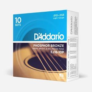 DAddario EJ16 - Juego de Cuerdas para Guitarra Acústica de Fósforo/Bronce, 012 - 053, Naranja: Amazon.es: Instrumentos musicales