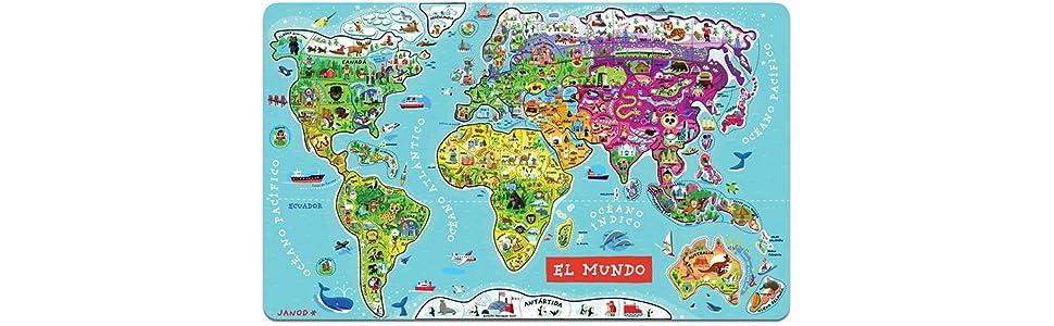 Janod - Puzzle magnético del Mundo de madera, Version en Español ...