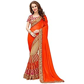 Orange Georgette Saree With Blouse Material at 999 rupees