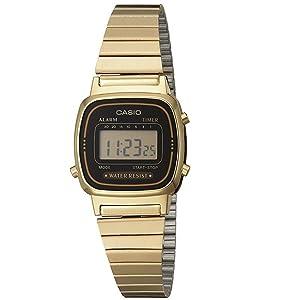 Womens Vintage LA670WGA-1DF Daily Alarm Digital Gold-tone Watch
