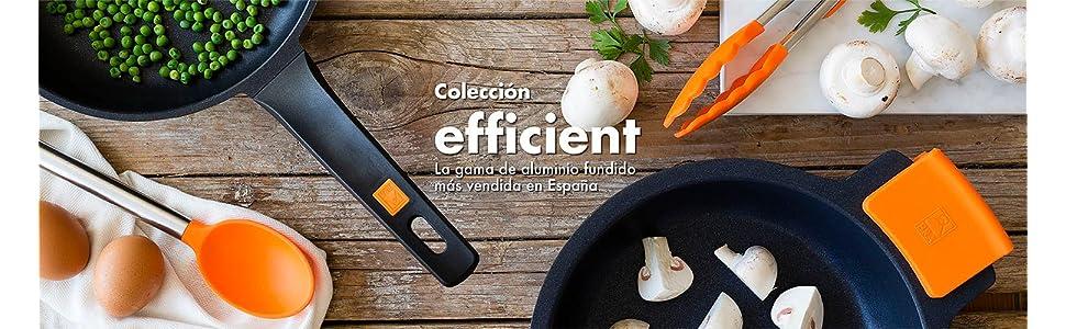 BRA Efficient - Cacerola baja con tapa de cristal y asas de silicona, 24 cm,aptas para todo tipo de cocinas incluida inducción.Libre de PFOA.