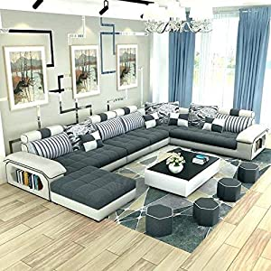 Quality Assure Furniture Roland 9 Seater Fabric Sofa Set With 4 Puffy White And Grey Standard Size Amazon In Home Kitchen