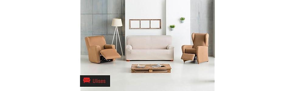 Eysa Funda chaise longue elástica, Gris, Tres Plazas, 90 x 240-280 x 155 cm