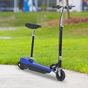 HOMCOM Patinete Eléctrico Scooter Plegable con Manillar y Asiento Ajustable tipo Monopatín con Freno y Caballete 120W Carga 70kg, 81.5x37x96cm, Color ...