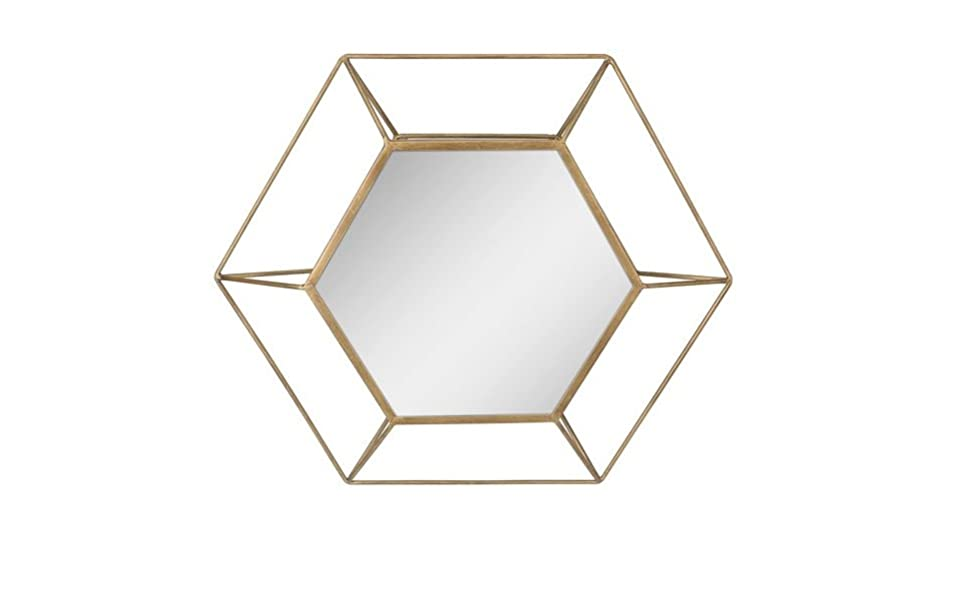 Stonebriar Decorative Antique Gold 24 Hexagon Metal Frame Hanging Wall Mirror With Mounting Brackets Modern Geometric Decor For The Living Room Bathroom Bedroom And Entryway Home Kitchen
