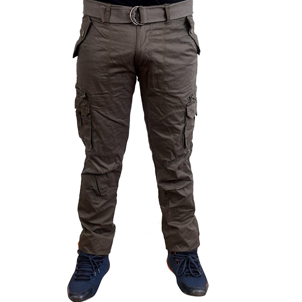 5fc276dd Krystle Men's Dark Grey Cotton Cargo Pant Size 42-B01MZ8ZTHX: Amazon ...