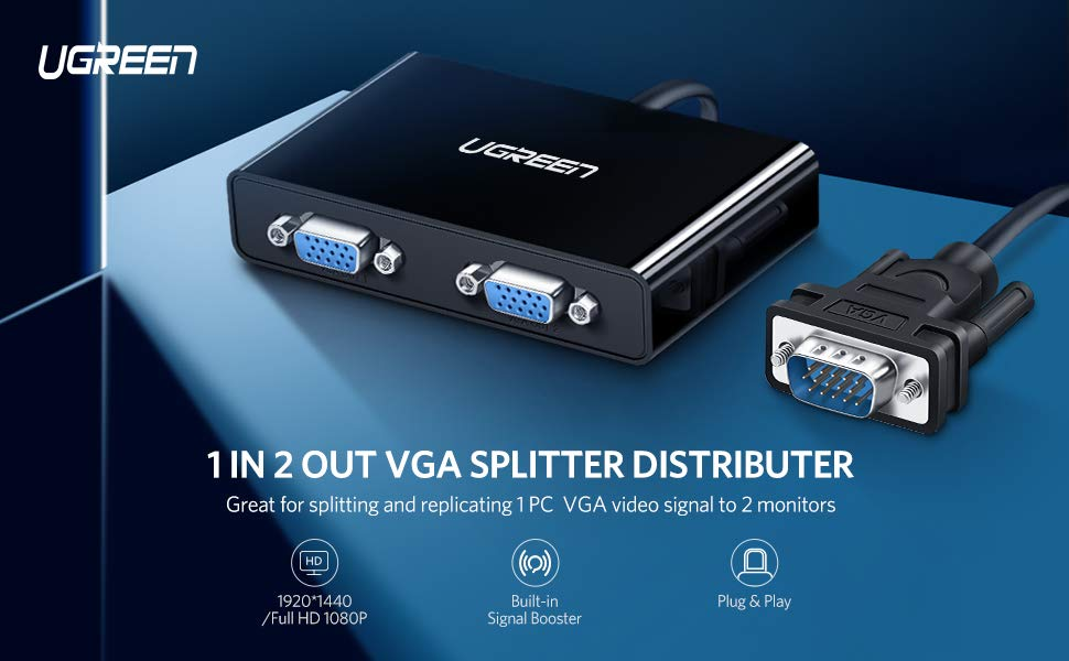 UGREEN VGA Splitter 1 in 2 Out Monitor Y Cable One Male to Two Female VGA SVGA