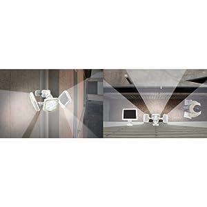 フリーアーム式LEDソーラーセンサーライト(5W×3灯)