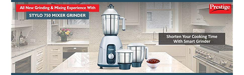 Buy Prestige Stylo 750 Watt Mixer Grinder with 3 Stainless Steel