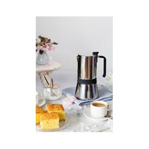 Monix Eterna Cafetera Italiana 6 Tazas, Acero Inoxidable, Gris, 10 cm
