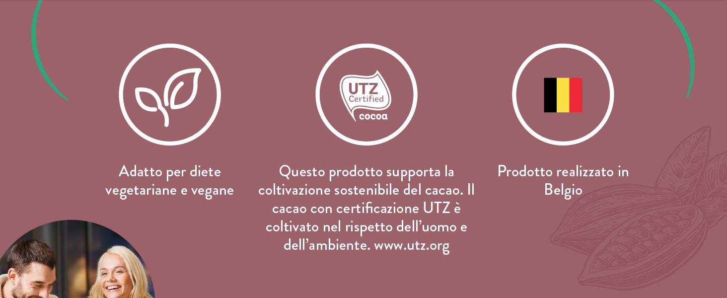 Questo prodotto supporta la coltivazione sostenibile del cacao.IlcacaoconcertificazioneUTZècoltivato