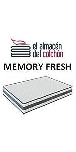 El Almacen del Colchon - Colchón viscoelástico Modelo Memory, 105 x 180 x 18cm - Todas Las Medidas, Blanco y Azul: Amazon.es: Hogar