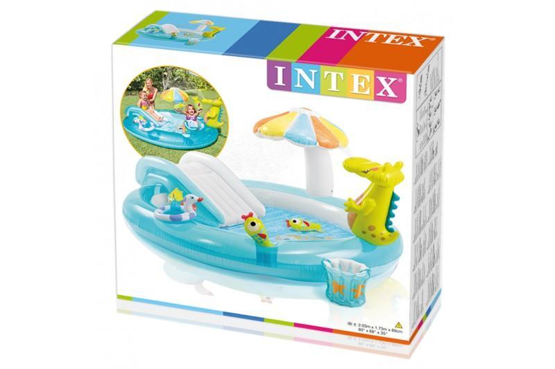Intex piscina hinchable y tobog n y pulverizador 203 x for Parches para piscinas intex