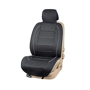 Amazon Basics Luxuriöser Sitzbezug Seitenlos Universale Passform Aus Kunstleder Schwarz Mit Grauen Linien Auto