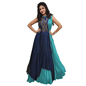 e83c8547986c Rudra Zone Women s Banglory Gown With Jacket Gown for Party Wear ...