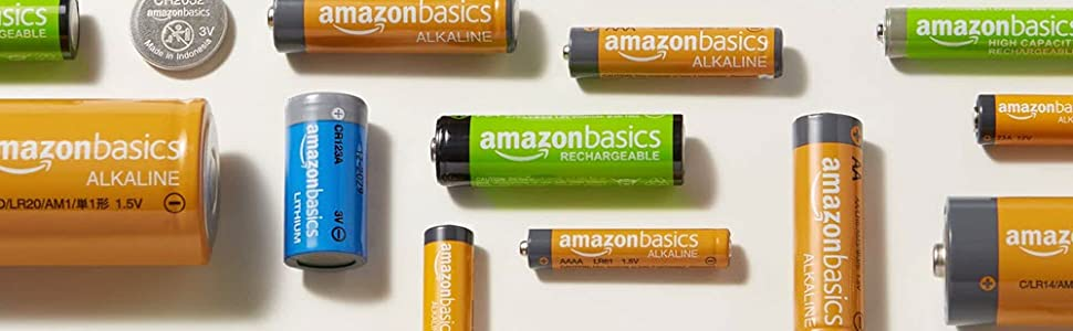 AmazonBasics Batteries: Alkaline, Rechargeable, Lithium and Coin Cell.