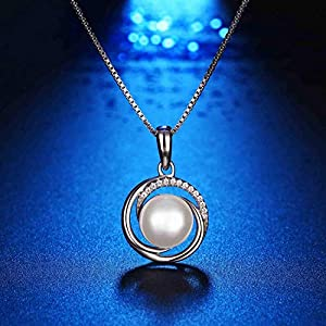Swarovski Elements 925 Sterling Silver Pearl Pendant Necklace for Female Ladies Gift Jewelry