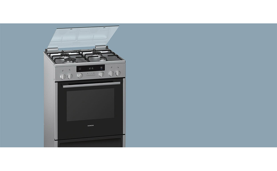 Siemens Gas Top & Electric Oven 66 L - HX645535M, Silver