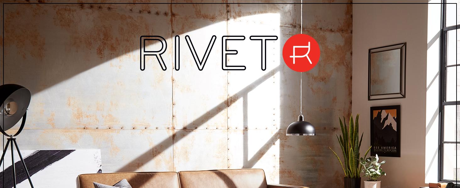 Rivet, small space, studio, apartment, sofa, upholstery, mid-century, comfortable, chair, ottoman