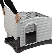 Ferplast Caseta para perros de exterior DOGVILLA 70, Pared lateral abatible, Sistema de drenaje de líquidos, Rejilla de ventilación, Puerta con perfil de aluminio, 73 x 59 x h 53 cm: Amazon.es: Productos para mascotas