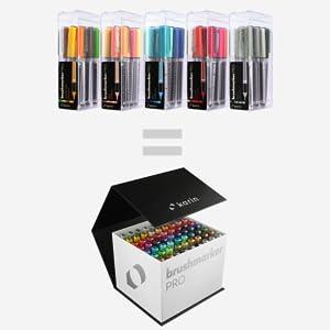Karin HQ0003 Mega Caja Brush Marcador Pro brushpens a base de agua Adecuado para pintar, dibujar y mano Lettering Multicolor: Amazon.es: Oficina y papelería