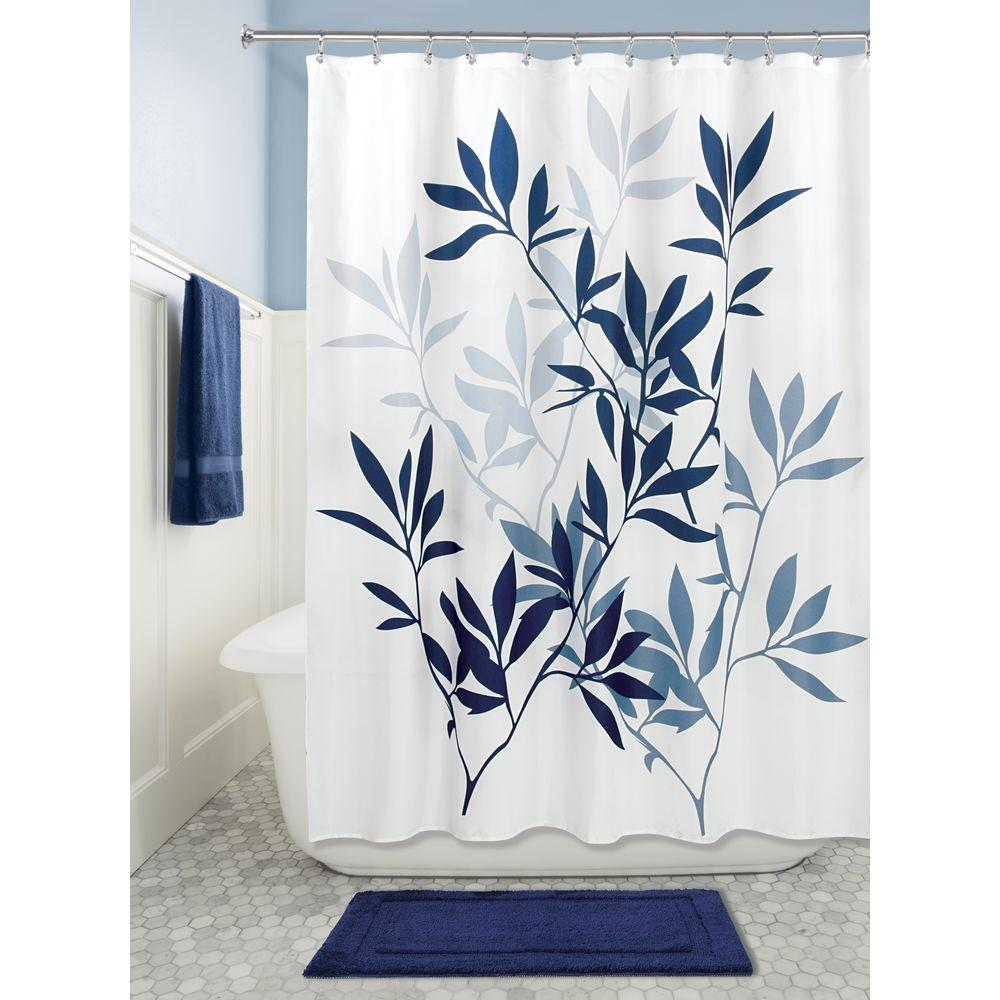 Interdesign Leaves Soft Fabric Shower Curtain 72x72 Inch Navy And Slate Blue Home